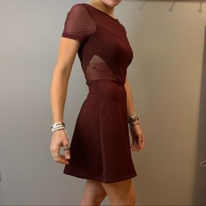 MAROON SKATER DRESS